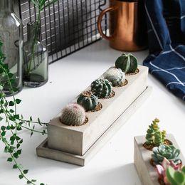 Vasi fatti a mano online-Creativo Rectangle Vaso Concrete Planter Muffa Handmade Craft Decorazione della casa Cemento Flowerpot Stampi
