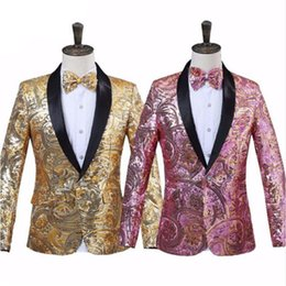 Pajarita rosada para hombre online-Mens Pink Gold Sequins Fancy Paillette Boda Cantante Escenario Traje Traje Chaqueta con pajarita