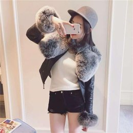 Wholesale Matches Leather Jackets - Detachable fur leather female new short leather jacket all-match slim Pu