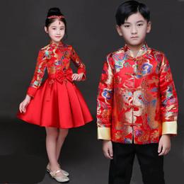 Traje dinastia tang online-Kid China vestido de la Dinastía Tang ropa tradicional china chaqueta traje pantalones para niños niño niña ropa