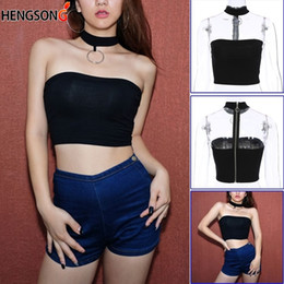 682e760d413 Summer Sexy Backless Short Tops Women Bustier Crop Top Cropped Bandage  Halter Tube Tops Camisole Women Clothes 740392