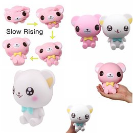 Wholesale Fun Retail - Butterly Bear Slow Rising Squishies toy Fun Kawaii Squishies Jumbo Animal Pink Big Eyes Bear Toys Cartoon Cream Scented Bread FFA126 2colors
