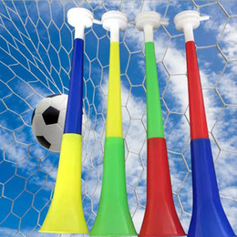 Wholesale flags cup - 2018 World Cup Football Fan Plastic Horn Vuvuzela Horn Cheer Horns National Flag Trumpet Whistle Noise Maker Novelty Items CCA9521 250pcs