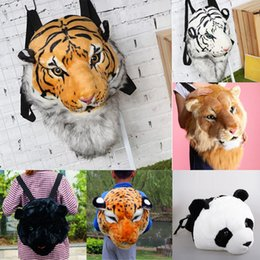 Unisex Lovers Plush Backpack Creative Simulation Animal Tiger Head Shoulder Bag