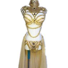 vestido de discoteca Desconto Estágio Wear Prom Sexy Lantejoula Ouro Rhinestone Outfit Bra Saia Curta Cristal Design Festa Vestido Dj Cantora Costume Nightclub