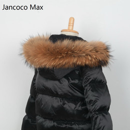 Wholesale Hooded Scarf Fur - Jancoco Max + Lining 65cm 2017 Real Raccoon Fur Trimming Collar For Kids Adult Coat Hooded Fashion S1690