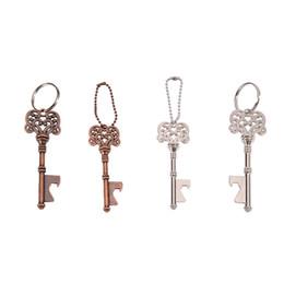 Bague porte-clés mariage argent en Ligne-La bière clé ouvre-bouteille boîtes Rétro Keychain Cola Ouvre Porte-clés Métal Bronze / Argent Cadeaux de mariage