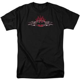 Cómics de acero online-Camiseta Batman Steel Flames Logo DC Comics con licencia para adulto