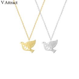 Wholesale Silver Bird Tree - whole saleV Attract 10pcs Stainless Steel Tree Leaf And Bird Necklace For Women and Men Jewelry Vintage Peace Dove Maxi Choker