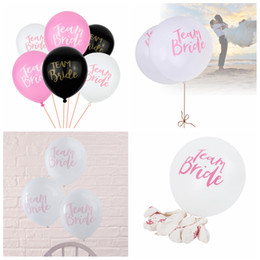 Wholesale balloons latex printing - Team Bride Latex Printed Balloons Pink white Black Party Wedding Decorations kids toy Party Supplies FFA444 3600PCS