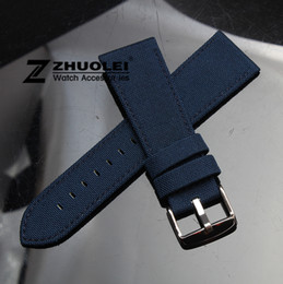 Wholesale 18mm nylon strap - 18mm 20mm 22mm 24mm Dark blue Nylon Canvas Durable Sport Padded Watch Strap comfortable Leather Lining men's watch band