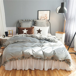 Wholesale Ruffled Comforters - 3 4 6pcs crystal Flannel Simple pure Bedding set Warm Fleece Ruffles Duvet cover set Bed skirt Pillowcases Twin Queen King size