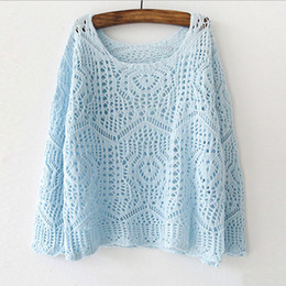 ef4ac130567 2018 spring new Korean candy crochet hollow pierced sweater thin summer air  conditioning women pullovers gown female 17168