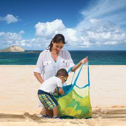 Bolsas de arena de nylon online-Gran capacidad Bolsos de playa para niños Arena para llevar Playa Bolsa de asas de malla Juguetes para niños Toallas Recoger Bolsas de almacenamiento Bolsos bolsos de compras plegables