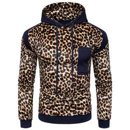 Wholesale Leopard Men Hoodie - Leopard Decoration Hoodie Men Fashion Patchwork Hooded Tracksuit Harajuku Long Sleeve Mens Hoodies Sweatshirt Punk Rock Pullover