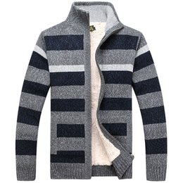 Wholesale Winter Mens Fashion Dress Coats - Mens Fashion Winter Dress Striped Sweater Wool Liner Keep Warm Winter Clothing Cardigan NEW Men Coat 118