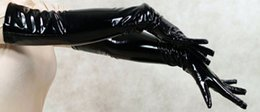 Wholesale Cat Fetish - New Fashion Style Black Red PVC Leather Finger Long Gloves Fetish Elbow Length Night Party Gloves Cat Women Cosplay Gloves
