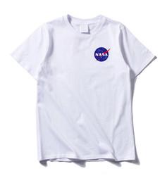 2019 pantalones cortos baratos para hombre NASA mens letras imprimir mangas cortas camiseta ins caliente negro blanco cuello redondo camiseta casual en línea barato rebajas pantalones cortos baratos para hombre