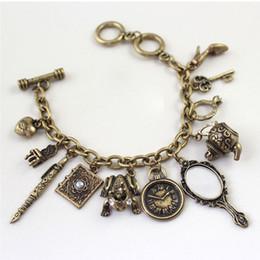 Wholesale frog pendant gold - Fashion Charms Vintage Mini Mirror Frog Clock Bangle Multi Pendants Bracelet Chic Pop Jewelry