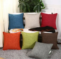 Wholesale single throw - Pillow solid waist cushion simple soft fashion linen pillows 45*45cm throw for cafe hotel home sofa decorative pillow cover