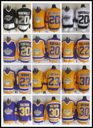 CCM Newest Men Stitched Kingz # 20 ROBITAILLE / # 22 WILLIAMS / # 23 BROWN / # 30 VACHON Púrpura Amarillo Blanco Negro CCM Camisetas de hockey sobre hielo desde fabricantes