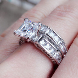 Wholesale Diamond Jewelry Wedding Ring - CZ Crystal Set Double Rings Female silver Color Wedding diamond Brand Rhinestone Engagement Finger Ring For Women Jewelry drop ship 080298