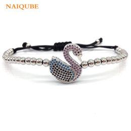 Wholesale Macrame Jewelry - whole saleNAIQUBE 2018 Hot Fashion Pave Color CZ High Quality Swan 4mm Bead Braided Macrame Charm Bracelet For Women Jewelry Gift