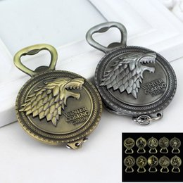 Wholesale Games Decor - Game Of Throne keychain Bulk Lots Song of Ice And Fire Keychains Bottle Opener Home Decor Kitchen Accessories Party Supplies BBA259 60PCS
