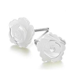Argentina Envío de la gota Madre de perla Shell Beige Rose Flor 100% 925 pendientes de plata esterlina del perno prisionero para la moda de las mujeres cheap mother pearl rose flower Suministro