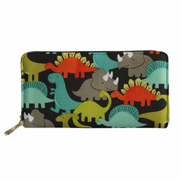 dragon dinosaurs Promo Codes - New Long Wallet Clutch Simple Dinosaur & Dragon Printed Fashion Multi-Functional Women Leather Coin Purse carteira feminina