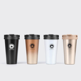 Wholesale Tea Tumbler Wholesale - Portable Vacuum Insulated Travel Coffee Mug Stainless Steel Tumbler Sweat Free Tea Cup Thermos Flask Water Bottle 500mL 17Oz