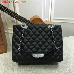 Wholesale Cluth Purse - Famous designer brand new Quilted shoulder Bag Cluth evening purse Messenger Bag GST large tote handbag caviar gold silver chain