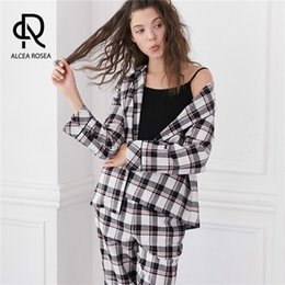 4cb40d6c64 Alcea Rosea Spring Autumn Pajamas Set Women Long Sleeve Button-Down Shirt  Top and Long Pants Cotton Female Sleepwear AR572