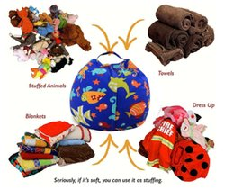 Wholesale Wholesale Bean Bag Beds - Kids Storage Bean Bags 60cm 18inch Plush Toys Beanbag Chair Bedroom Stuffed Animal Room Mats Portable Clothes Storage Bag