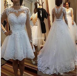 Wholesale boho princess dress - C.V Heave Pearls Beads boho wedding dress with detachable skirt Two in one design Lace Embrodery A line bohemian wedding dress W0278