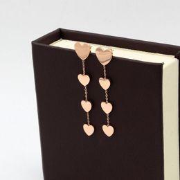 Wholesale Peach Chandelier - High Quality Classic Brand Peach Heart Splicing Titanium Steel Dangle Earrings Rose Gold Stud Earrings For Women Jewelry