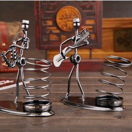 Wholesale band ornaments - Strange New Personality Metal Band Iron Pen Container Wholesale Creative Personality Students Gift Ornaments Gift CCA8873 60pcs
