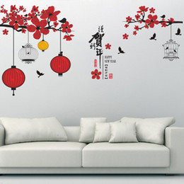 Wholesale Chinese Glass Art - Colorful Lantern Birdcage Hanging on Red Flowers Tree Branches Wall Stickers Home Decor Chinese Calligraphy Happy New Year Wall Quote Paper