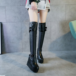 af27d594bae8 2018 Autumn and Winter New Martin Boots Female Increased Elastic Boots  Thick-soled High-heeled Boots with Wedges Women s Shoes