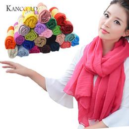 Wholesale Unique Shawls - KANCOOLD silk scarf shawl Lady Women Long Unique Style Candy Colors Soft Cotton Scarf Wrap Shawl Scarves Stole gloves FEB12
