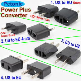 Wholesale Europe Usa Adapter - PCTONIC Travel power converter Universal Power Plug Adapter USA US converts to EU Europe AC wall socket two round leg pins