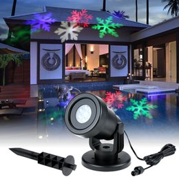 2019 giardini magici Natale Moving Snow Laser Proiettore Lampade Fiocco di neve LED Luci da palcoscenico per Xmas Wedding Party Outdoor Garden Lawn Landscape Night Lamp