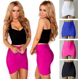Wholesale Sexy Cloths Night - Women Short Bandage Skirt Female Sexy Tight Pencil skirts Mini Elastic Slim Night Club Candy color cloth