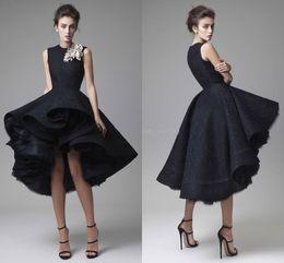 2019 jupes de robe de bal basse 2019 nouvelle magnifique robes de soirée Krikor Jabotian Jewel dentelle longueur du thé, plus la taille robe de bal noire robe de bal robes de soirée haute jupe jupes de robe de bal basse pas cher