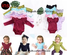 Wholesale Christmas Bodysuits - 16colors choose Ins Lace Girls Rompers Kids Fly Sleeve cotton Jumpsuits Toddler Fashion Onesies Newborn Princess Tutu Bodysuits 0-2years