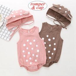 dot bebê roupa Desconto INS Verão Bebê Dot impressão completa Macacões com bonés Infantil Meninas polka Rompers Roupas para Bebê 73/80/90/100 CM