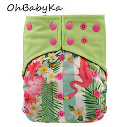 fralda ai2 Desconto Ohbabyka recém-nascido fraldas de pano flamingo impressão bebê lavável reutilizáveis fraldas de bolso carvão de bambu all-in-two ai2 fralda cobre