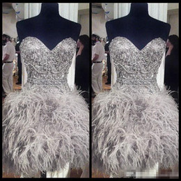 lace up corset prom dresses Promo Codes - 2018 Short Prom Dresses With Feathers Sweetheart Neck Corset Lace Up Back Graduation Homecoming Dress Beading Crystal Cocktail Girls Gowns