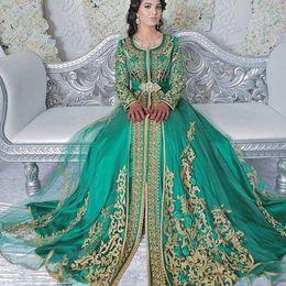 Dubai dresses designs on-line-Esmeralda Verde Mangas Compridas Muçulmanos Vestidos Formais Desgaste Da Noite Abaya Designs Dubai Turco Prom Vestidos de Noite Vestidos Marroquinos Kaftan