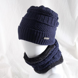 6e8811ab19e Men s winter letter labelling knitted wool hat leisure flannel thickening  collar hack cap the new hot sell